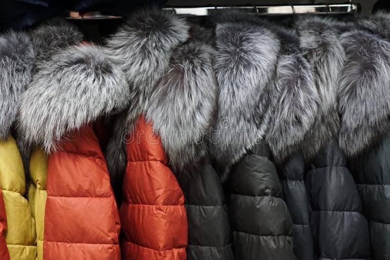 衣领毛皮大衣精品店商店敞篷夹克外衣衣物 库存图片