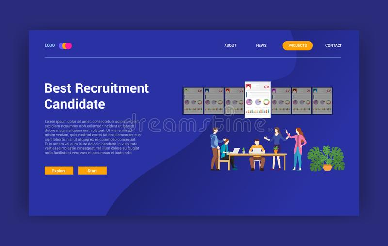 补充选择网站设计模板页的-传染媒介例证最佳的候选人雇员 皇族释放例证