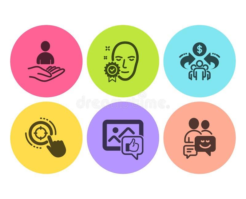 补充,分享经济和Seo目标象集合 象被核实的照片,面孔和通信标志 ?? 皇族释放例证