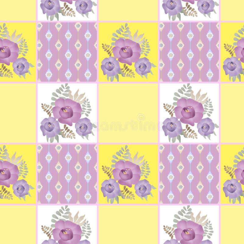 补缀品减速火箭的方格的花卉纹理样式柔和的淡色彩backgrou 库存例证
