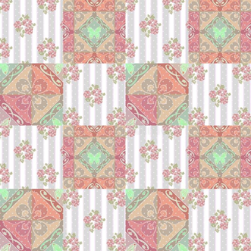 补缀品抽象无缝的花卉样式背景 皇族释放例证
