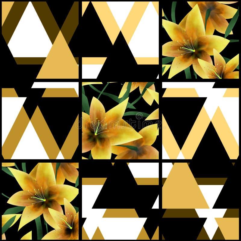补缀品无缝的花卉lilly样式纹理背景与 皇族释放例证