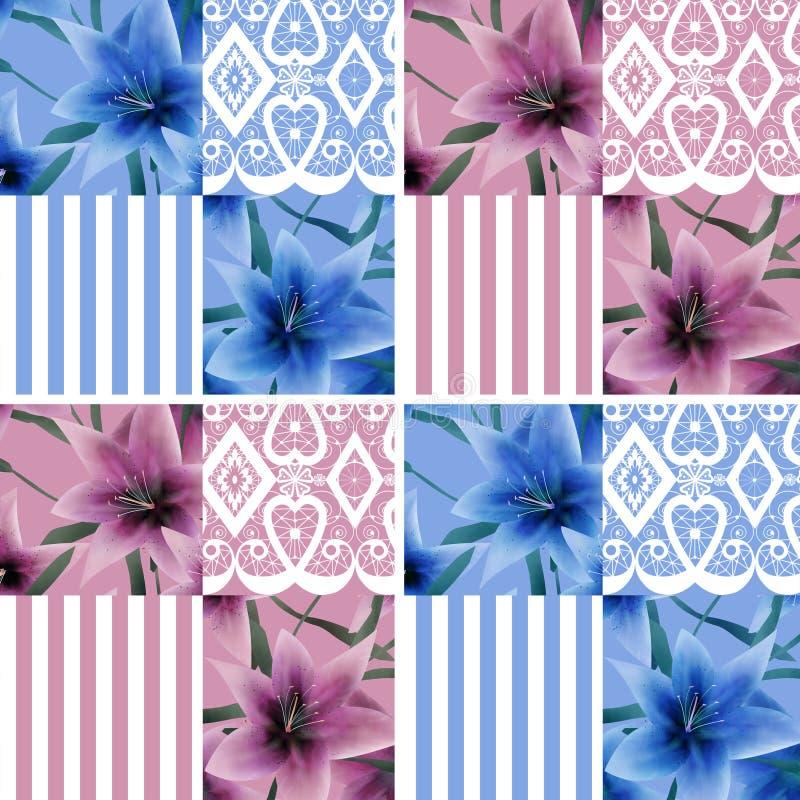 补缀品无缝的花卉lilly样式纹理背景小条 库存例证