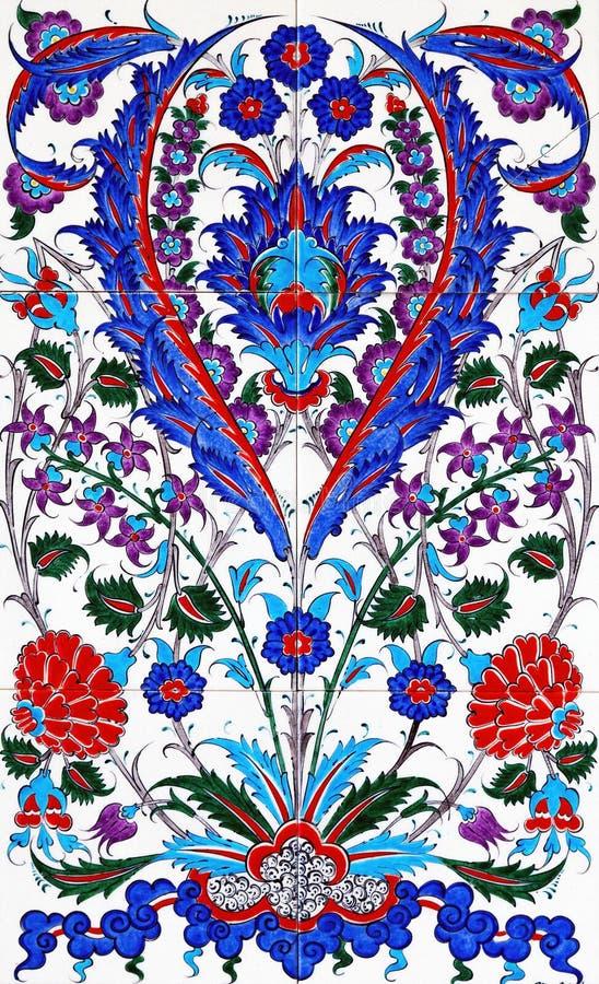 补缀品瓦片花卉样式伊斯兰教的窗框 免版税图库摄影