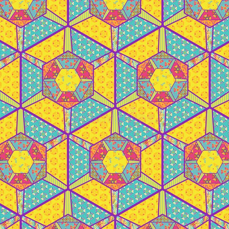 补缀品,缝制和背景的五颜六色的装饰的六角形 皇族释放例证