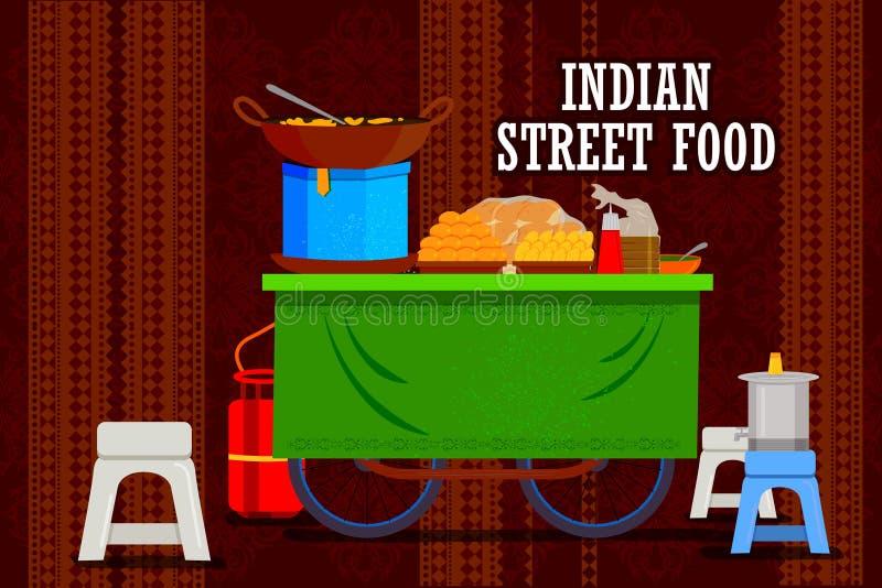 代表五颜六色的印度的印地安街道食物推车 库存例证