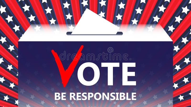 表决传染媒介例证 选票和政治 投入投票在箱子 竞选概念 做挑选图象 库存例证