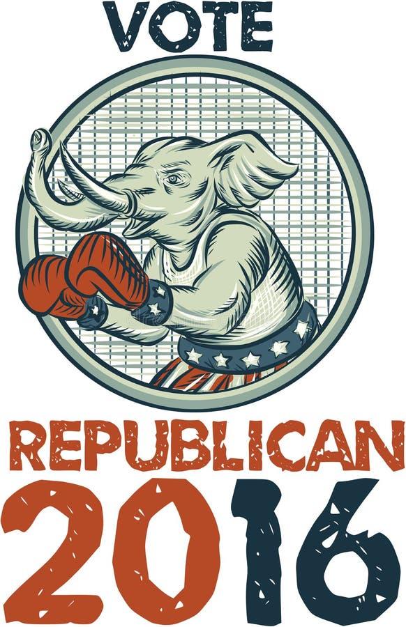 表决共和党人2016年大象拳击手蚀刻 皇族释放例证