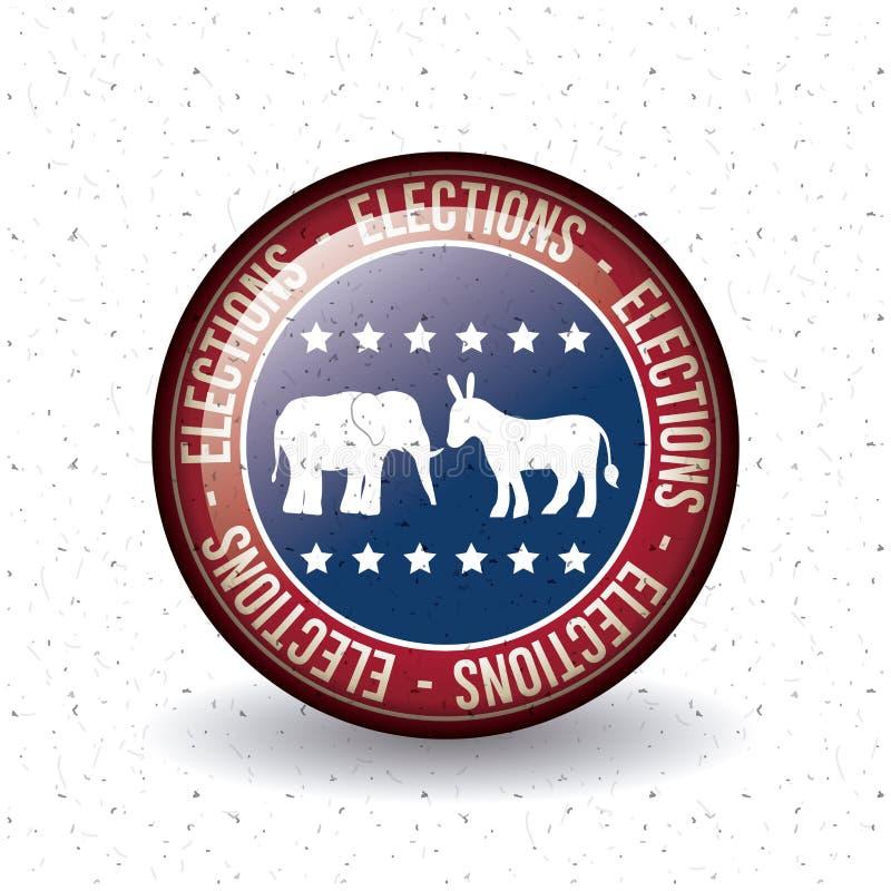 表决概念被隔绝的驴和大象按钮  皇族释放例证