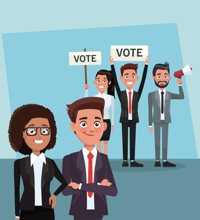 表决竞选的政客 库存例证