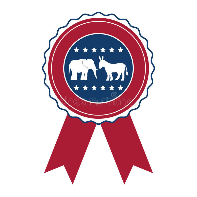 表决设计被隔绝的驴和大象  库存例证
