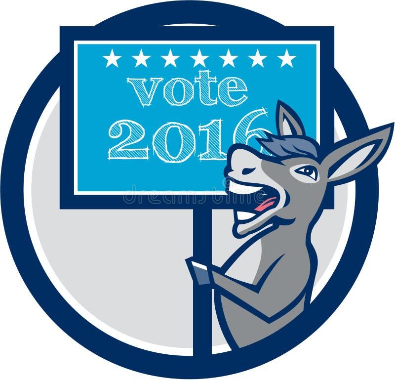 表决2016年民主党驴吉祥人圈子动画片 皇族释放例证