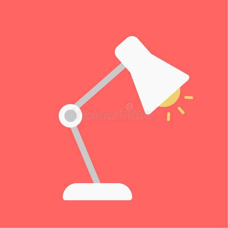 表办公室灯 电的桌面 传染媒介例证平的设计 查出在红色背景 剪影灯 皇族释放例证