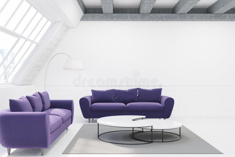 表和两个紫色沙发 皇族释放例证