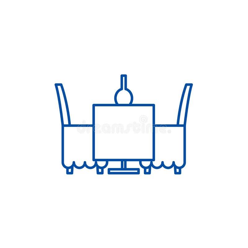 表和椅子在餐馆线象概念 表和椅子在餐馆平的传染媒介标志,标志 皇族释放例证