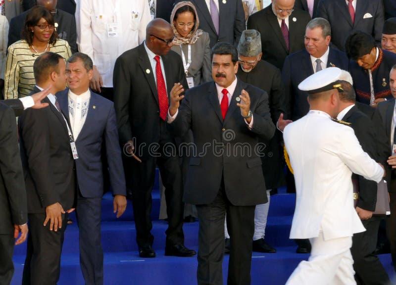 代表团的总统为在不结盟运动的第17次峰会的正式照片摆在 库存图片