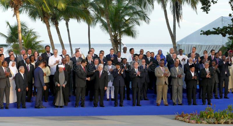 代表团的总统为在不结盟运动的第17次峰会的正式照片摆在 免版税库存图片