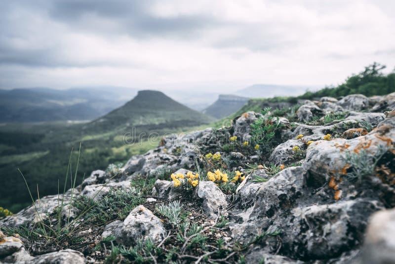 表山在克里米亚在多云天空下 库存照片