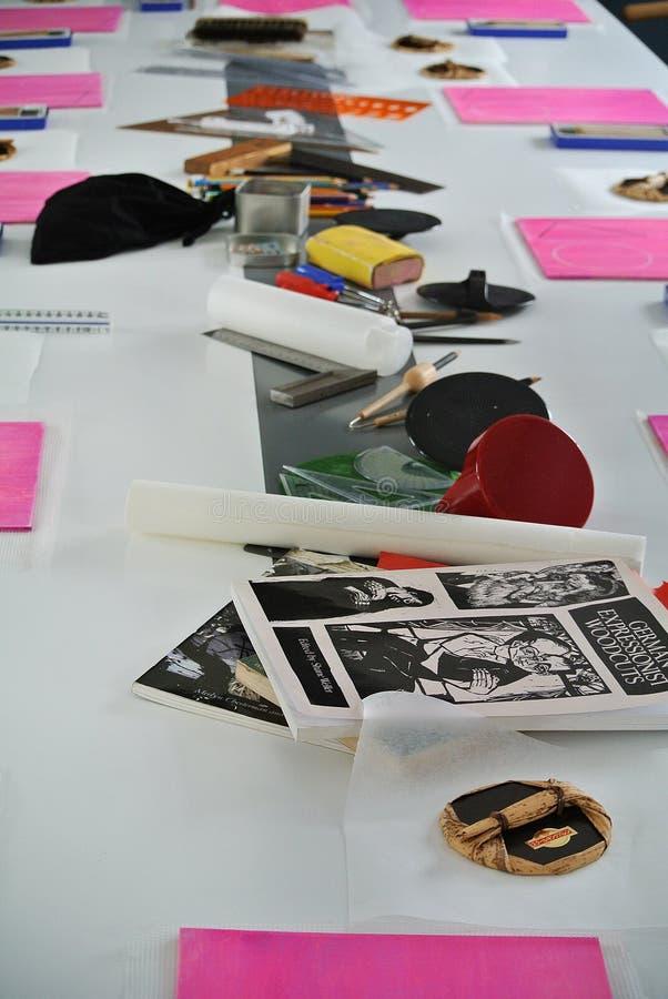 表布置与为工艺品的工具 库存图片