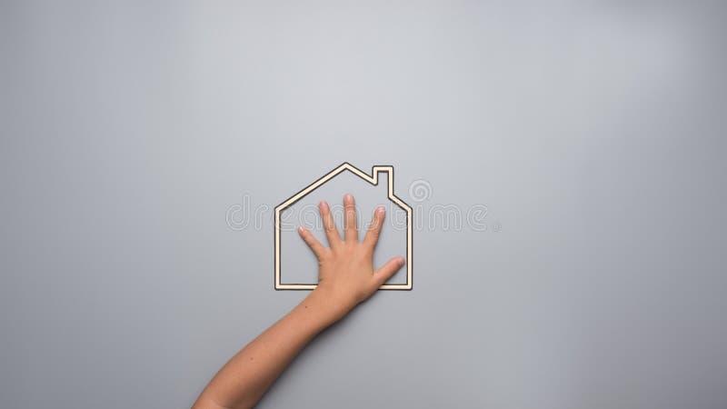 表明他的对他的家的孩子爱一个概念性图象的 库存图片