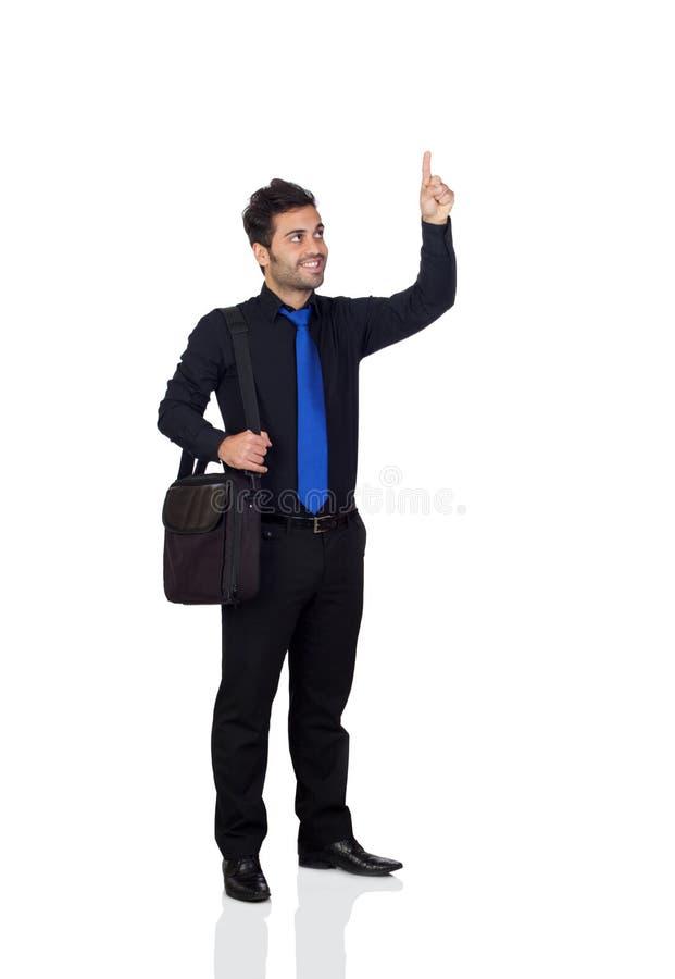 表明某事的年轻商人与他的手指 免版税库存照片