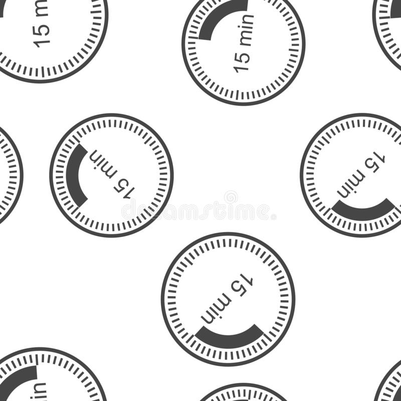 表明间隔时间15分钟的时钟象 在时钟无缝的样式的十五分钟时间在白色背景 库存例证