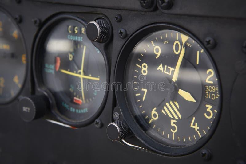 仪表板飞机的高度计细节 图库摄影