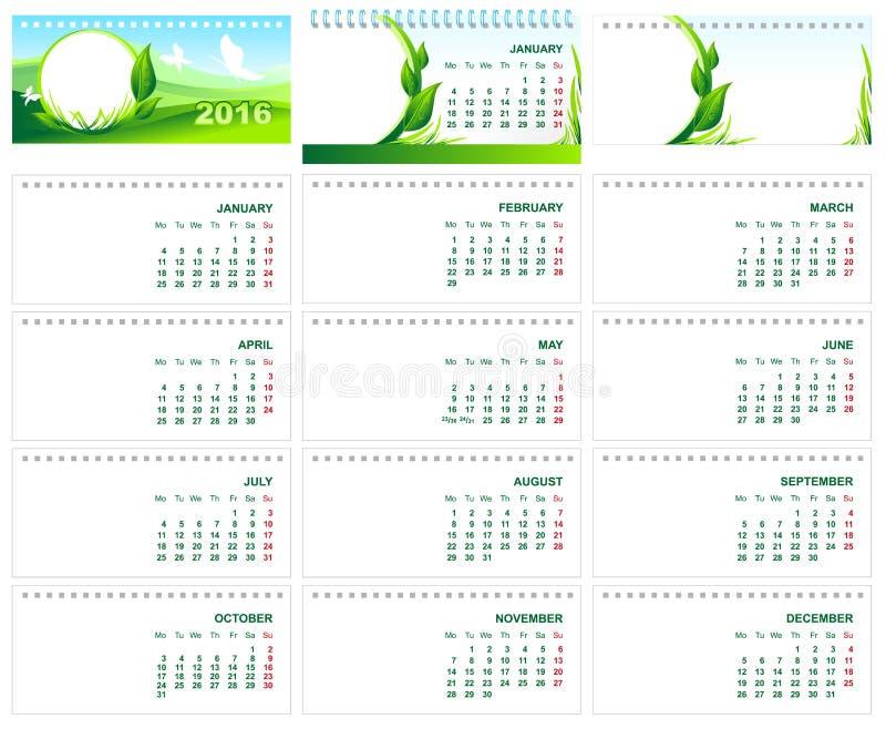 表桌面日历2016年 绿色模板日历2016年 皇族释放例证