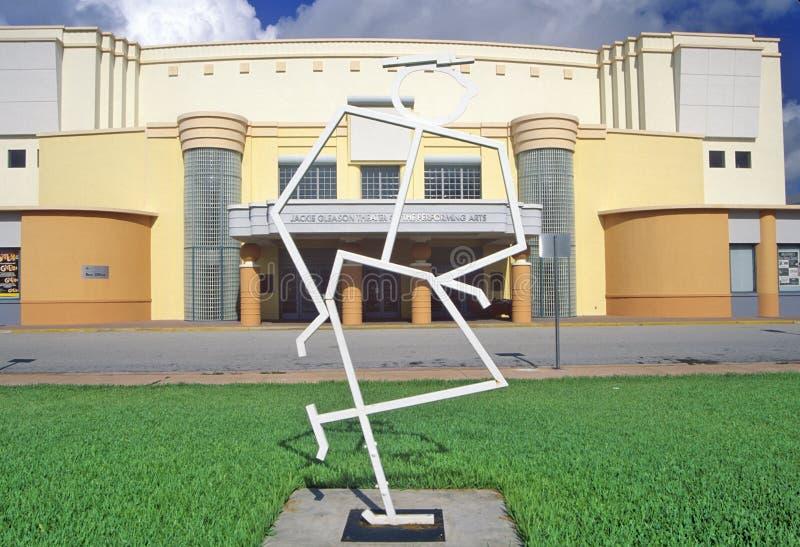 表演艺术的杰基Gleason剧院在南海滩,迈阿密海滩,佛罗里达艺术Deco区  免版税图库摄影