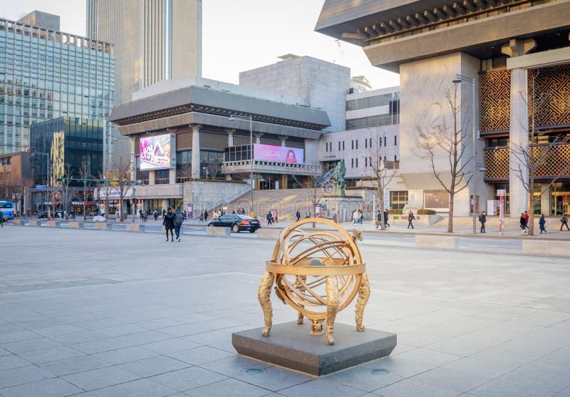 表演艺术的汉城世宗文化会馆 表演艺术的世宗文化会馆是最大的艺术和文化复合体在汉城 免版税库存照片