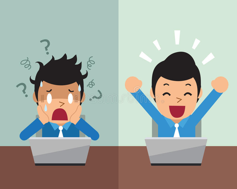 表现出动画片的商人不同的情感 库存图片