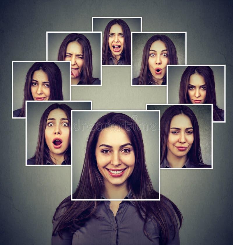表现出愉快的被掩没的妇女不同的情感 免版税库存照片