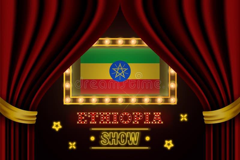 表现的放映时间板,戏院,娱乐,轮盘赌,埃塞俄比亚国家事件啤牌  发光的电灯泡葡萄酒  库存例证