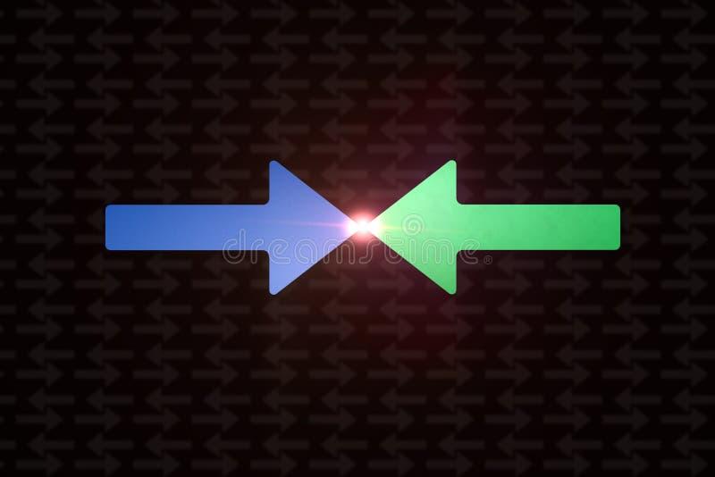 表示冲突的颜色箭头 平的格式 向量例证