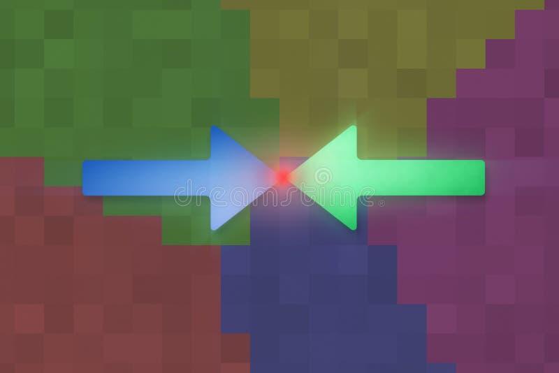 表示冲突的颜色箭头 库存例证