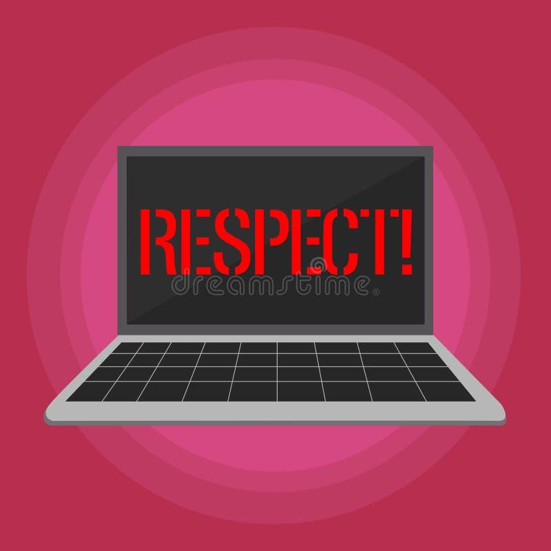 表示尊敬的文本标志 深刻的倾慕的概念性照片感觉对某人或某事的欣赏膝上型计算机与 向量例证