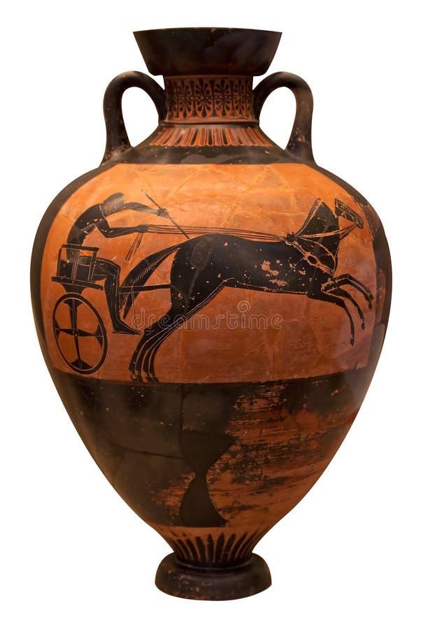 表示希腊花瓶的古老运输车 库存图片