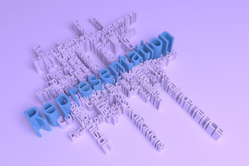 表示法,企业主题词词覆盖 r 3d?? 向量例证