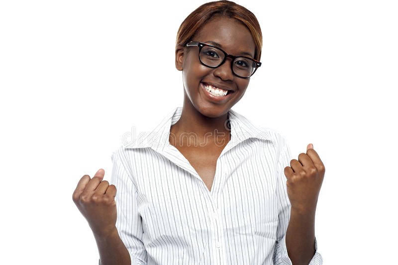 表示的女性她的成功。 是,我们执行它! 免版税库存图片