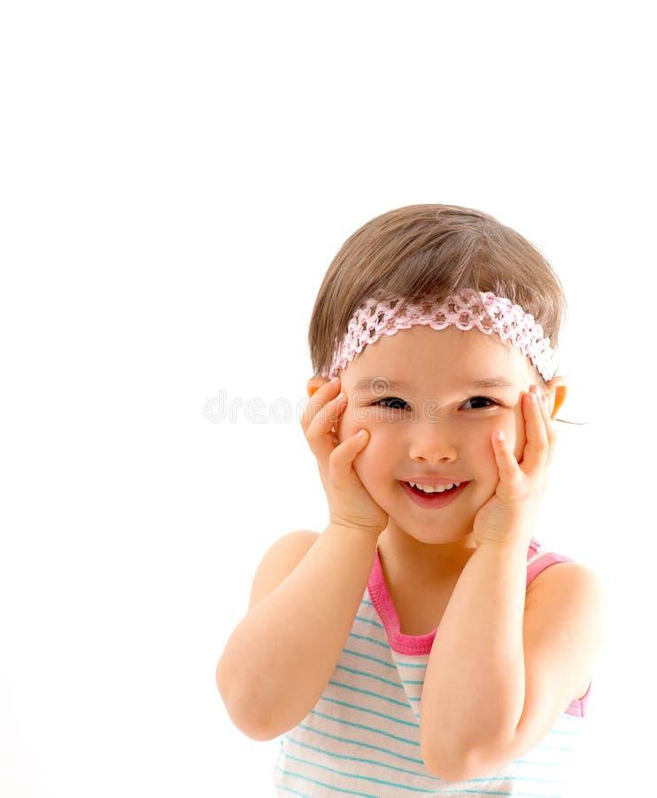 表示的孩子惊奇和高兴在白色 免版税库存图片