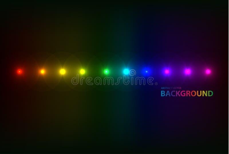 代表聚光灯的透镜火光的抽象图象用特技效果背景 向量例证