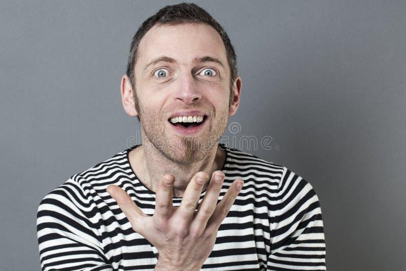 表达乐趣40s的人触目惊心 免版税库存照片