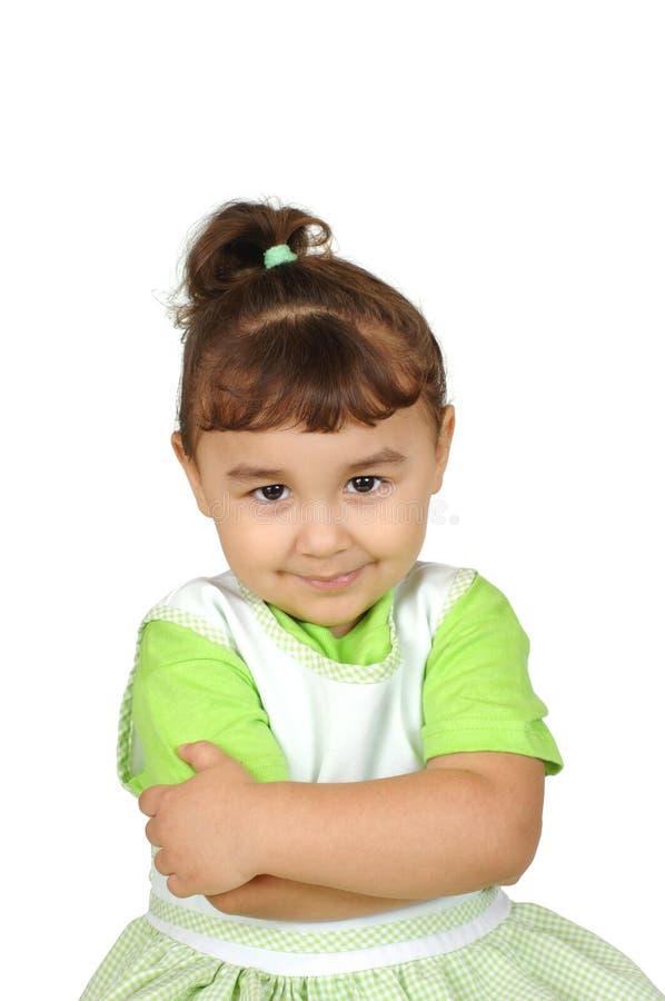 表达式女孩踌躇满志的一点 免版税库存照片