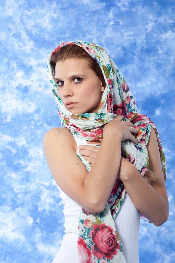 表达式女性模型摆在 免版税库存照片