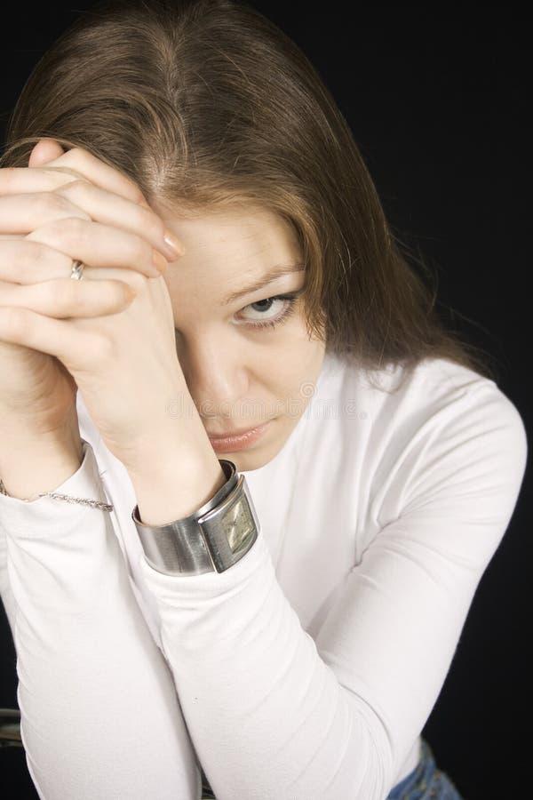 表达式纵向哀伤的妇女年轻人 免版税库存图片
