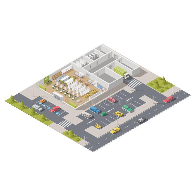代表部分的元素infographics一个超级市场用位于街道的停车处 库存例证