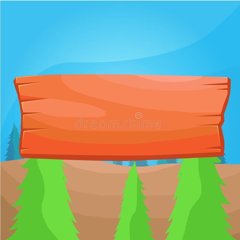 表面上固定的色的板条标志 在背景附有的空的木盘区 长方形塑造了有槽孔的木板 皇族释放例证
