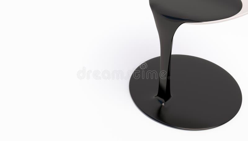 表面上溢出的黑树胶水彩画颜料油漆 厚实的液体一架被隔绝的喷气机在白色背景的 与自由空间的横幅文本的 向量例证