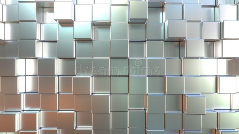 表面无光泽的金属方形块 ??3d?? 库存例证