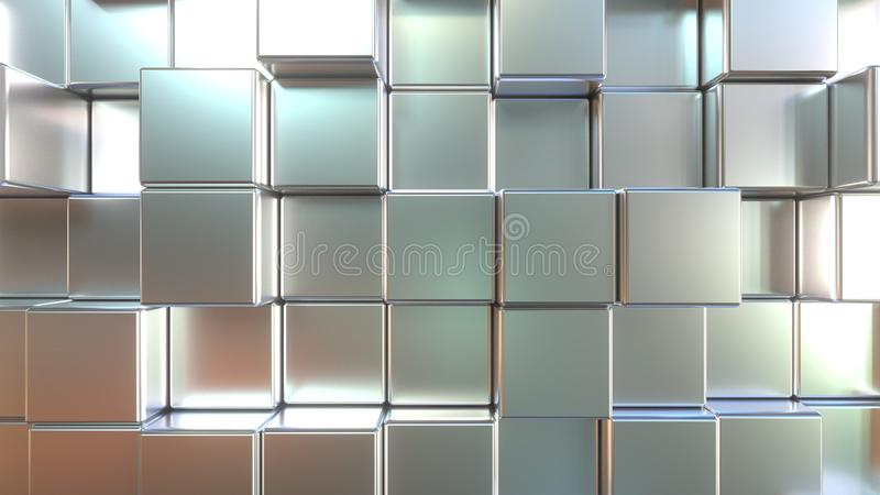 表面无光泽的金属正方形瓦片 ??3d?? 库存例证